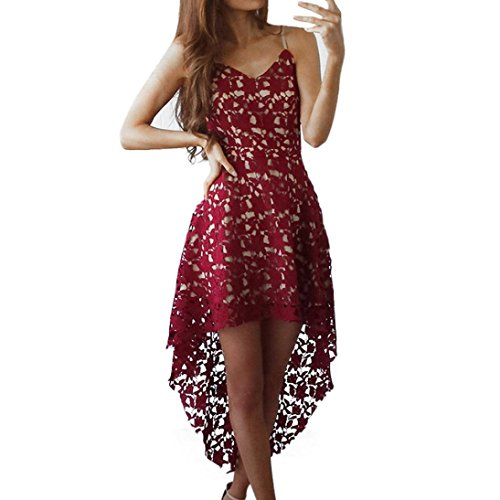 AIMTOPPY Women's Floral Lace SleeveLess V-Neck Cocktail Formal Swing Irregular Dress (Red, M)