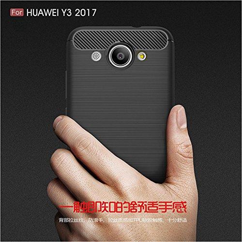 Funda Huawei Y3 2017,Funda Fibra de carbono Alta Calidad Anti-Rasguño y Resistente Huellas Dactilares Totalmente Protectora Caso de Cuero Cover Case Adecuado para el Huawei Y3 2017 A