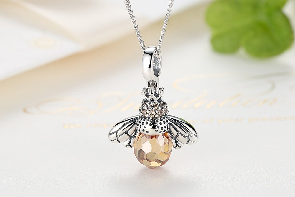 BAMOER 925 Sterling Silver Cute Bee Drop Earrings Pendant Necklace for Women Teen Girls Bee Jewelry Set Perfect Christmas Gifts (Bee Pendant) by BAMOER (Image #4)
