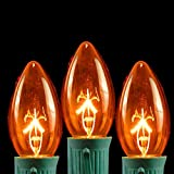 Novelty Lights 25 Pack C9 Outdoor String Light Christmas Replacement Bulbs - Amber - E17 C9 Base - 7 Watt