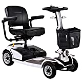 Light and Compact, Foldable,4 Wheel Power Electric Travel and Mobility Scooter,40Cm Wide Seat,Openable Handrail,Electromagnetic Brake,Rotatable Seat