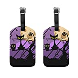 Set of 2 Luggage Tags Night Black Cat Owl Suitcase Labels Travel Accessories