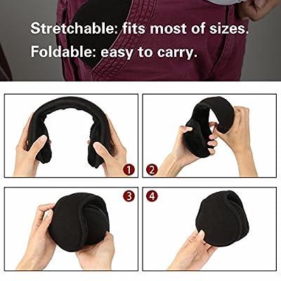 Komene Classic Fleece Ear Muffs Collapsible Behind-The-Head Ear Warmers for Women and Men