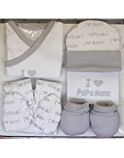 """Set Regalo Primera Puesta""""I Love You"""": Gorrito + Pantalón + Camiseta + Manoplas + Babero - Color Gris."""