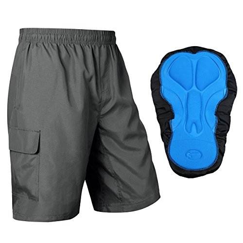 Baleaf Men's 3D Padded Mountain Bike Baggy Cargo Shorts Zipper Pockets