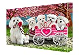 I Love Maltese Dogs in a Cart Canvas Wall Art (36x48)
