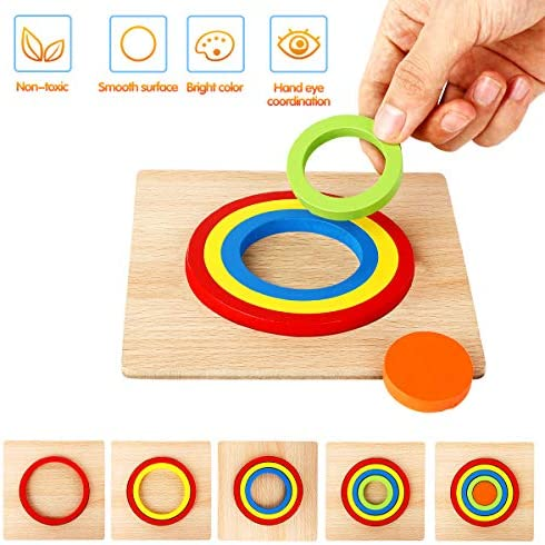 Toddler Puzzles Games Wooden Toys Montessori Shape Sorting Puzzle Toddlers Activities Preschool Learning Early Educational Gift for Kids Age 1 2 3 4 5 6 Year Old
