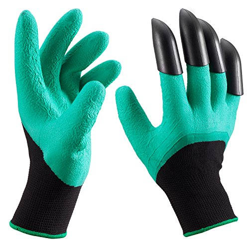 Waterproof Garden Gloves with Fingertips Unisex Right Claws, Quick & Easy to Dig and Plant, Safe for Rose Pruning, Digging and Planting Nursery Plants - As Seen On TV , Right Hand Claw, 1 Pair