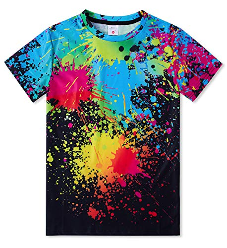 TUONROAD Novelty Inexpensive Children T-Shirt Polyster Watercolor Black Tee Assorted Printed Pattern Short Sleeve Graphic Tees Boys Girls 14-16T(Black Watercolor,Large) (Watercolor Graphic Tees)