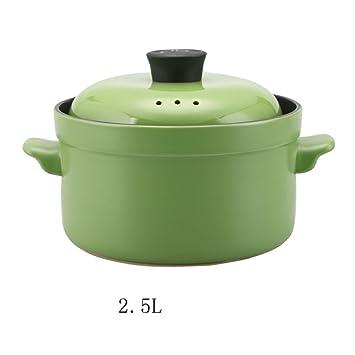 La olla de ceramica resistente al calor de la cazuela de estofado de sopa de puchero olla,Verde: Amazon.es: Hogar