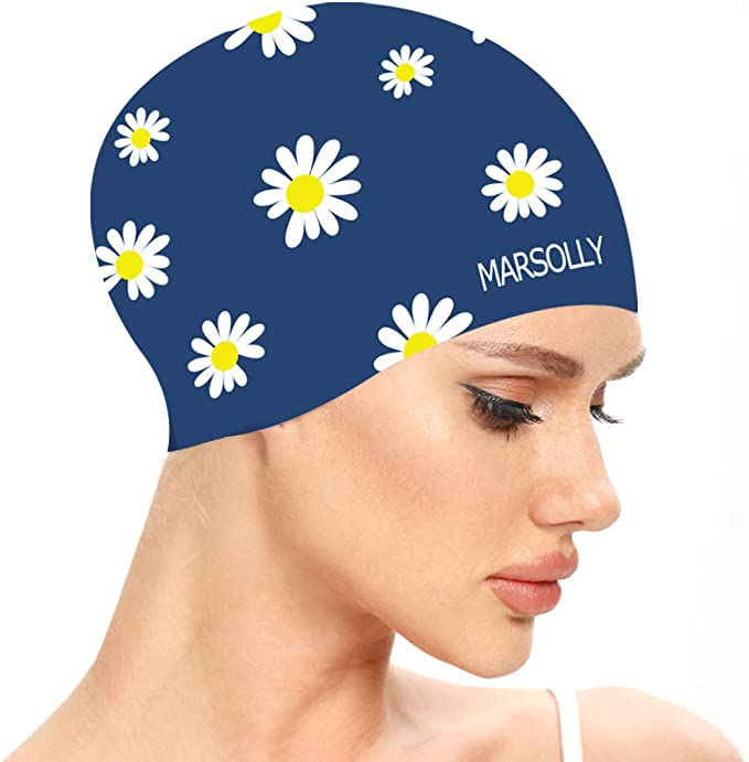 Tea Party Hats – Victorian to 1950s Marsolly Silicone Swim Cap for Women Waterproof Long Hair Swimming Caps with Flower Printed  AT vintagedancer.com