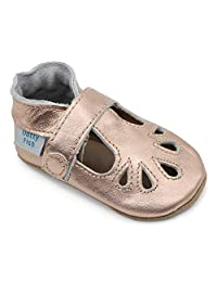 Dotty Fish Soft Leather Baby Shoes. Classic Silver, Red, Navy, Blue & Gold T-Bar Sandals for Girls & Boys. Non Slip Suede Sole. Toddler Shoes. 0-6 to 18-24 Months. Infant Shoes. Pram Shoes