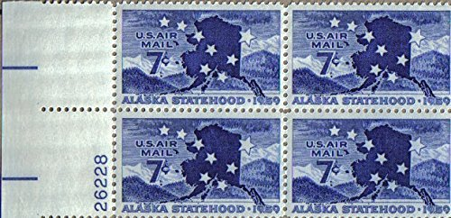No. C53 - Alaska Statehood Air Mail 1959 7 Cent U. S. Postage Stamp Plate Block (4 Stamps) by S.T.A.M.P.S