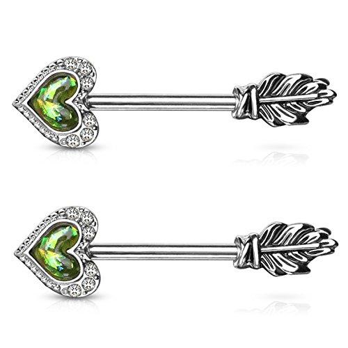 Opalescent Glitter Heart Feather Arrow Nipple Piercing Rings Steel Barbells - 14 Gauge 9/16 (Dark Green)