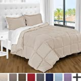 Alternative Comforter - Ultra-Soft Premium 1800 Series Goose Down Alternative Comforter Set - Hypoallergenic - All Season - Plush Fiberfill, Twin Extra Long (Twin XL, Sand)
