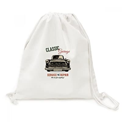 Black Classic Cars Repair Pattern Canvas Drawstring Backpack Shopping Travel Lightweight Basic Bag Gift