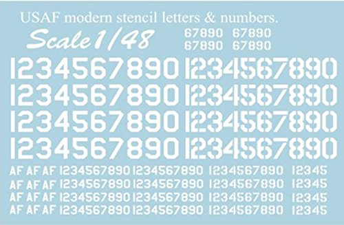 DECAL FOR AIRPLANE USAF MODERN STENCIL LETTERS,NUMBERS 3 1/48 PRINT SCALE 48-003