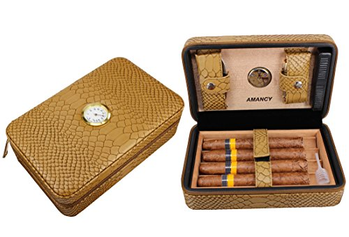 AMANCY Beautiful Travel Cedar Wood Lined Leather Cigar Case Humidor with Hygrometer, Conveniently Carry Cutter and Lighter