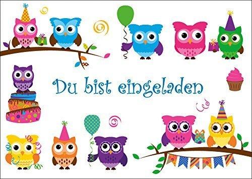 8 Er Set Lustige Eulen Einladungskarten (10645) Zum Kindergeburtstag Oder  Zur Party Von EDITION COLIBRI ©   Umweltfreundlich, Da Klimaneutral  Gedruckt: ...