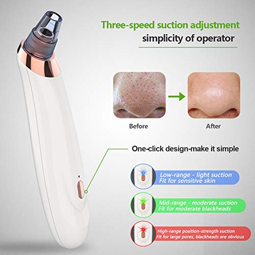 Blackhead Remover Pore Vacuum, Upgraded Strong 3 Adjustable Suction Professional USB Rechargeable Blackhead Vacuum Facial Pore Cleaner with 5 Interchangeable Beauty Heads Pore Aspirator