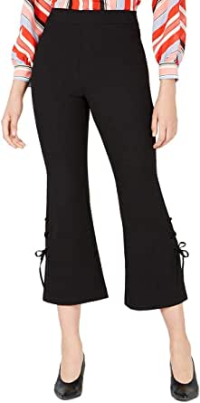 Bar III Womens Lace-Up Flare Casual Cropped Pants