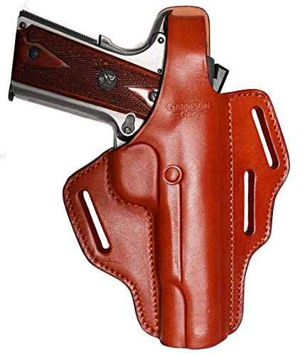 Garrison Grip Full Grain Tan Italian Leather 2 Position Plus Cross Draw Tactical Holster for All Standard 1911 Models (Brown)