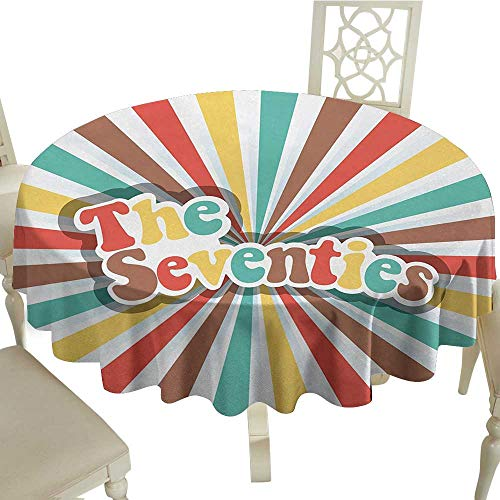 Edge 48 Radial - longbuyer Round Tablecloth Fitted 70s Party,The Seventies Retro Pastel Colored Typography Old Radial Backdrop Artwork Print,Multicolor D50,for Accent Table