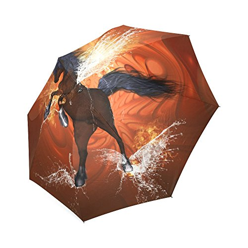 Artsadd Fashion Umbrella Wonderful Horse, Water Wings And Fire Foldable Sun Rain Travel Umbrella - Fire Wings Horse