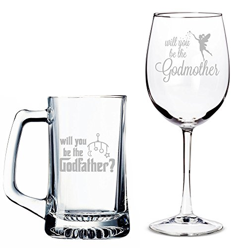 Will You Be My Godfather Beer Mug and Godmother Wine Glass Set