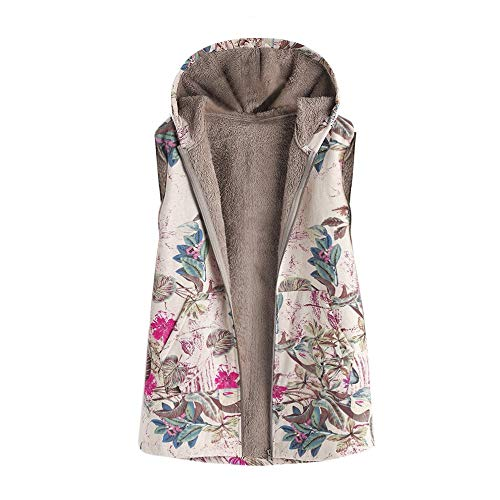 - JOFOW Womens Hooded Vest Sleeveless Jackets Boho Flowers Leaves Print Fleece Lined Vintage Warm Padded Parka Coat Plus Size (2XL =US:10-14,Pink-Flowers)