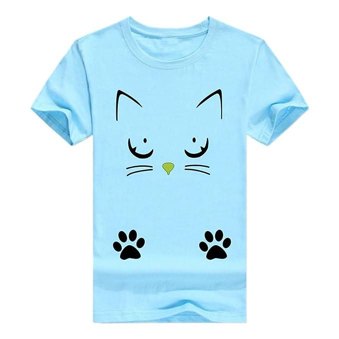 JiaMeng Casual O-Cuello de impresión de Gato Tops Camisetas Blusa Manga Corta Algodón Camiseta Mujer Camisetas Camisetas Mujer Verano Blusa Mujer Elegante ...