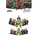 ABG toys 8 Minifigures MARVEL DC Comics Avengers Super Heroes Captain Marvel, Hyperion, Abomination, Winter Soldier, Robin, Iron Man War machine, Hydra Soldier Minifigure Series Building Blocks Sets Toys