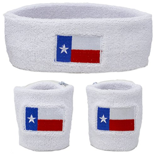 Funny Guy Mugs Texas Flag Unisex Sweatband Set (3-Pack: 2 Wristbands with Zipper + 1 Headband) (Best Of Texas Band)