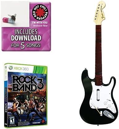 Mad Catz Rock Band 3 Guitar Bundle - Volante/mando (Guitarra, Xbox, Atrás, D-pad, Start, Inalámbrico, RF, AA) Negro: Amazon.es: Videojuegos