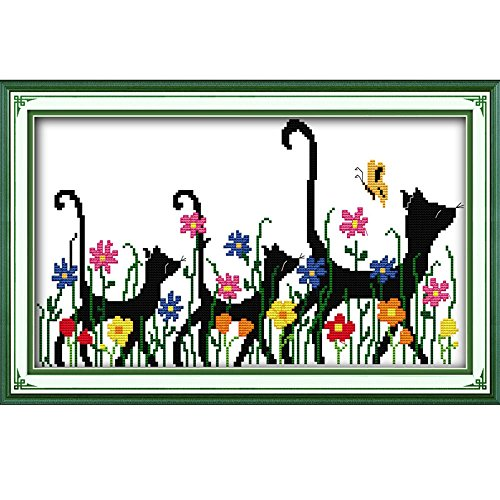 DIY Handmade Needlework Counted Cross Stitch Set Embroidery Kit 14CT Three Animals Pattern Cross-Stitching 41 28cm Home Decoration ()