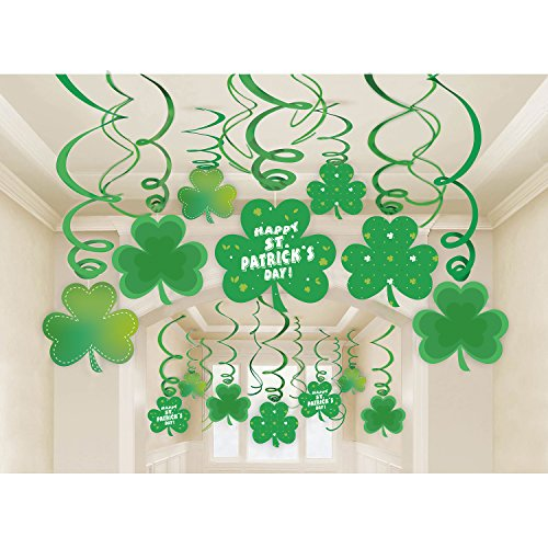 jollylife 30Ct St Patrick's Day Decorations - Shamrock Clover Swirl Saint Irish Party Hanging Supplies