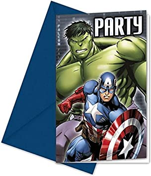 Juego De 12 Tarjetas De Invitación De Avengers Assemble
