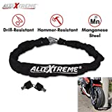 AllExtreme Bike Motorcycle Heavy Duty HELMET Lock, Chain Lock with 2 Keys Anti-Theft Luggage Lock Device Heavy Duty Chain Secure Lock for Helmet Bike Motorcycle Bicycle Bag Luggage Garage Door and Grill
