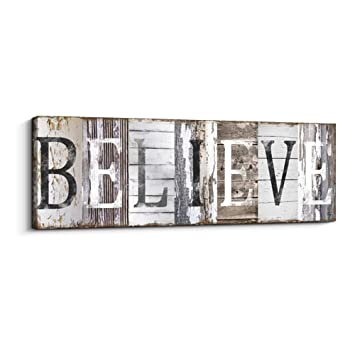 Quotes Wall Art Decor Family Decorative Signs Inspirational Motto Canvas Prints With Solid Wood Inner Frame Believe 4 X 12 Inch