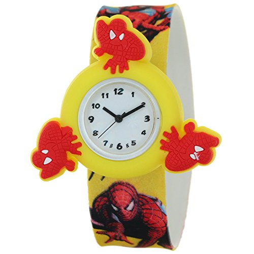 Silicone Strap Round Quartz Kids Lovely Cartoon Analog Spiderman Spinner Rotating Case Waterproof Slap On Rubber Band Arabic Numerial Dial Child Toddler Wristwatches Time Teacher Boys Girls Watches -
