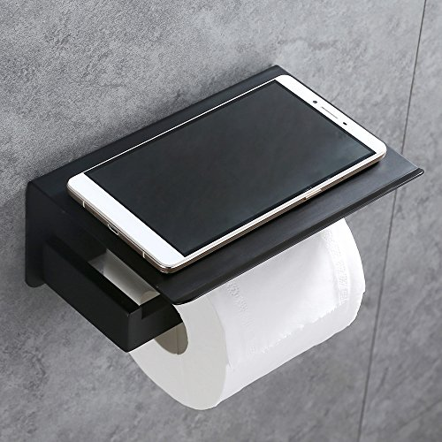 Toilet Paper Holder with Shelf, APL SUS304 Stainless Steel Bathroom Decor, Modern Paper Towel Holder Plus Cell Phone Storage (Matte Black)
