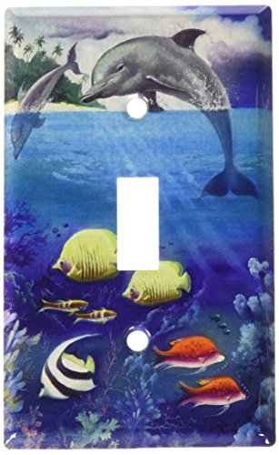 Art Plates - Dolphin and Fish Switch Plate - Single Toggle (Switchplate Dolphin)