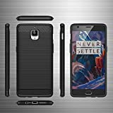 One plus 3 / Oneplus 3T back case cover. High quality slim Carbon Fiber Armor hybrid case -smooth silky texture. Soft flexible trendy Rugged case for both women/girls and men/boys. (Black)