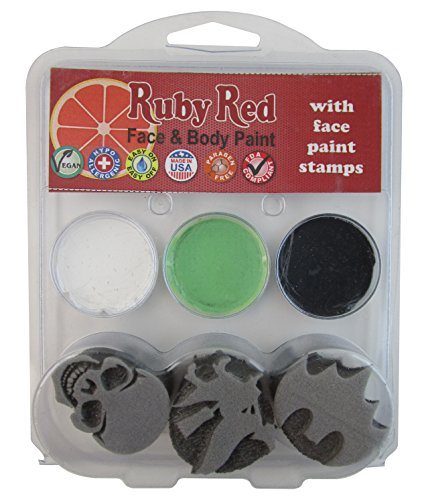 Doll Face Paint Costume (Ruby Red Paint, Inc. Face Paint, 2ML X 3 Colors - Halloween 2 Stamp Palette)