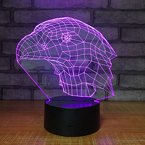 FTOPS Ilusión óptica 3D Luz de Noche Eagle Head 7 Cambio de Color LED Luz de Escritorio con alimentación USB Multicolor...