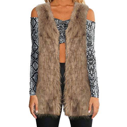 Women Warm Thickening Coat Jacket Faux Fur Fox Mink Parka Outwear Cardigan Vest(Brown,XXX-Large) for $<!--$9.74-->
