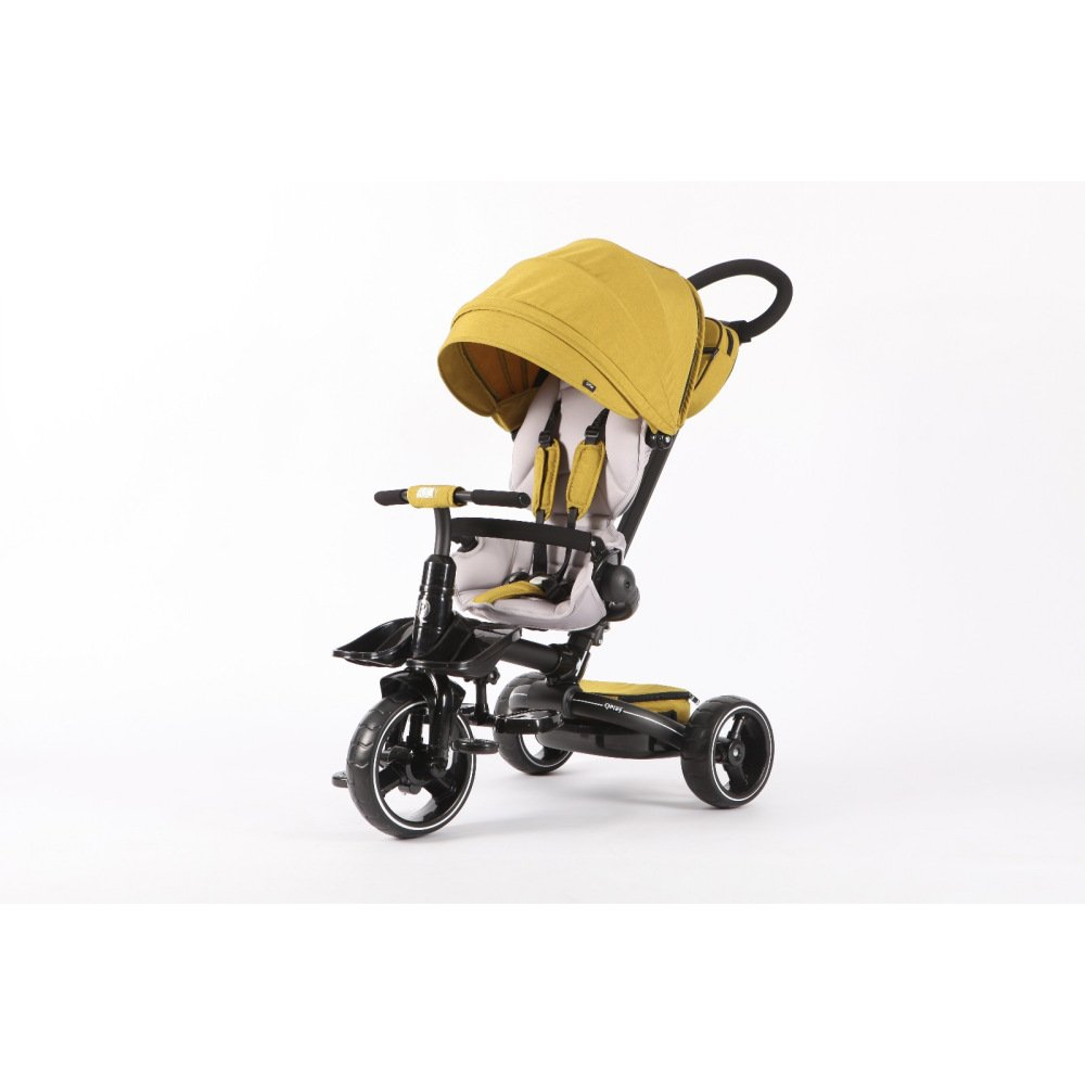T600 YELLOW 6-in-1 Deluxe Baby Stroller Tricycle Grow With Me Trike with One Button Rotating Seat Function for Interaction with Parents Push Bar Storage Bag Included (Trike,Stroller,Baby Tricycle)