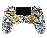 'Money Talks w/ShotGun Thumbsticks and Real Gold 9 mm Bullet Buttons' PS4 PRO Rapid Fire Custom Modded Controller 40 Mods (CUH-ZCT2U)