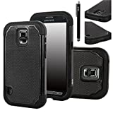 Galaxy S5 ACTIVE Case, E LV Galaxy S5 ACTIVE Case - Shock-Absorption / High Impact Resistant Hybrid Dual Layer Armor Defender Full Body Protective Case Cover (Hard Plastic with Soft Silicon) for Galaxy S5 ACTIVE SM-G870 (Water Resistant Model) with 1 Stylus and 1 E LV Microfiber Digital Cleaner (Black)