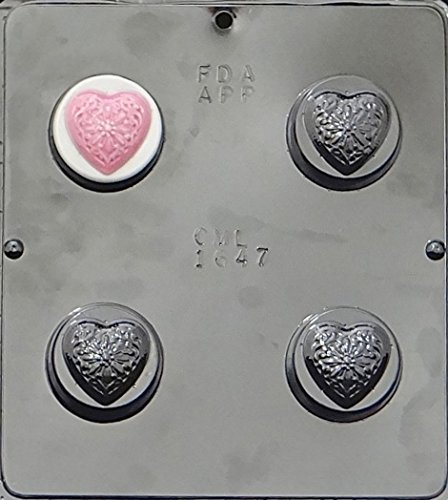Filigree Heart Oreo Cookie Sandwich Chocolate Candy Mold Valentines 1647 ()